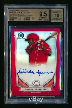 2014 Bowman Chrome Aristides Aquino Rc Red Refractor Auto Autograph #3/5 Bgs 9.5