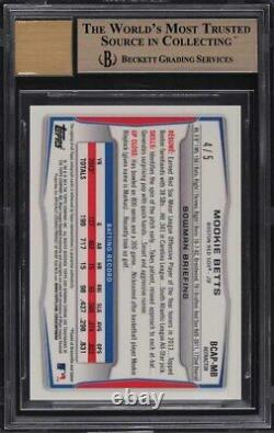 2014 Bowman Chrome Red Refractor Mookie Betts ROOKIE RC AUTO 4/5 BGS 10 PRISTINE