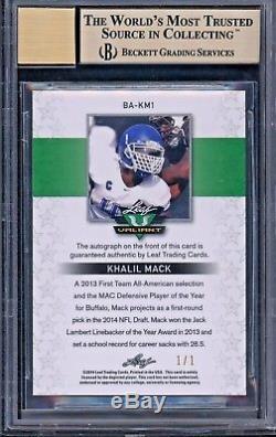 2014 Leaf Valiant Draft Khalil Mack Red 1/1 BGS 9.5 10 True Gem Rookie Auto RC