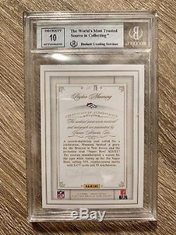 2014 Panini Flawless 3 Color Patch Autograph Auto Peyton Manning BGS with 10 Auto