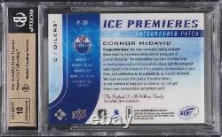2015 Upper Deck Ice Premieres Connor McDavid ROOKIE RC PATCH AUTO /10 BGS 9.5