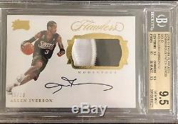 2016-17 Panini Flawless Allen Iverson Gold Patch Auto /10 BGS 9.5 Gem 10 76ers