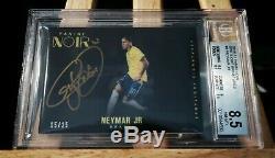 2016-17 Panini Noir Soccer Spotlight Auto Card BGS 8.5 Autograph 10 Neymar Jr