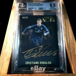 2016-17 Panini Noir Soccer Spotlight Auto Card BGS 8.5 Autograph 9 Ronaldo 03/25