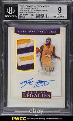 2016 National Treasures Lasting Legacy Kobe Bryant PATCH AUTO 1/10 #8 BGS 9 MINT