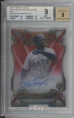 2016 Topps Tribute Ken Griffey Jr. MVP Accolades Red Auto Autograph /5 BGS 9