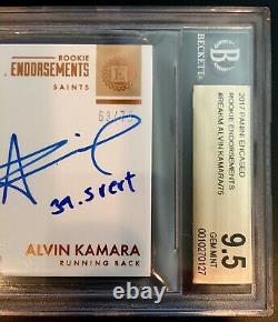 2017 Alvin Kamara Encased, Rookie Endorsement Auto (63/75) BGS 9.5/10 Gem Mint