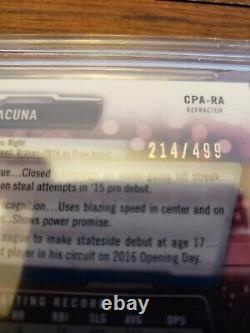 2017 Bowman Chrome Ronald Acuna Jr 1st year auto autograph refractor BGS 9.5