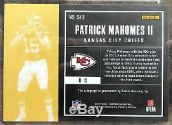 2017 Contenders Patrick Mahomes Cracked Ice Rookie RC Auto /25 BGS 9 Mint 10 AU