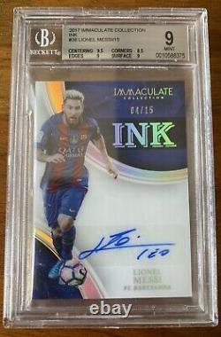 2017 IMMACULATE INK LIONEL MESSI AUTO /15 BGS 9 Mint, Auto 10 POP 1