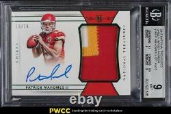 2017 National Treasures Green Patrick Mahomes ROOKIE RC PATCH AUTO 15/15 BGS 9