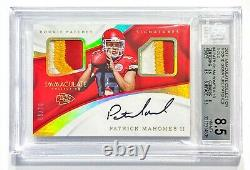 2017 Panini Immaculate PATRICK MAHOMES #9/10 Gold Rookie Patch Auto BGS 8.5/10