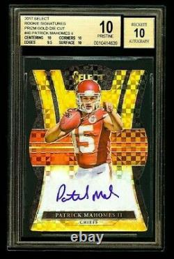 2017 Panini Select Mahomes Rookie Signatures Auto Prizm Gold Die-cut Bgs 10