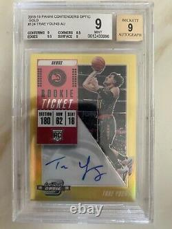 2018-19 Panini Optic Contenders Trae Young RC Rookie Gold Auto 1/10 Hawks BGS 9