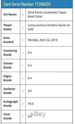 2018 Contenders Super Bowl Ticket Lamar Jackson 1/1 BGS 9 Mint 3x 9.5 Auto 10