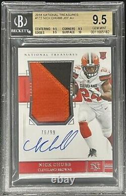 2018 National Treasures RPA Rookie Patch Auto /99 Nick Chubb BGS 9.5 Gem Mint +