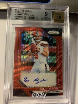 2018 Panini Prizm Baker Mayfield /199 Red Wave RC AUTO Autograph BGS 9 Mint With10