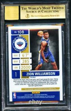 2019-20 Contenders Cracked Ice Zion Williamson /25 Rookie Ticket BGS 9.5 10 AUTO