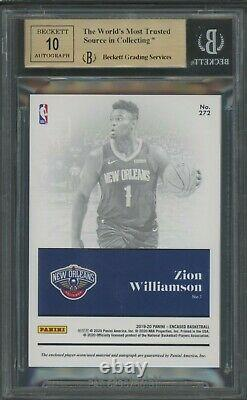 2019-20 Panini Encased Blue Zion Williamson RPA RC Patch 3/3 BGS 9.5 with 10 AUTO