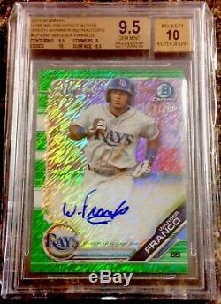 2019 Bowman WANDER FRANCO 1st Chrome Auto Green Shimmer Refractor /99 BGS 9.5/10