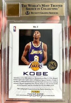 2019 Panini Contenders Kobe Bryant Autograph Card BGS 9.5 Last On Card Auto 1/4