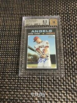 2020 Topps Heritage Real One Autographs Mike Trout On Card Auto Bgs 8.5/10