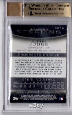 BGS 9.5 AUTO 10 AARON JUDGE 2013 Bowman Sterling Prospect Autograph RC GEM MINT