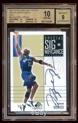 Bgs 10 Pristine Michael Jordan 2002 Sp Auto #ed /10 Gold Autograph Pop 1 Hof