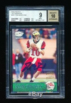 Bgs 9 Tom Brady 2000 Pacific Autograph Auto Rc Rookie Card /200 (3) 9.5 Subgrade