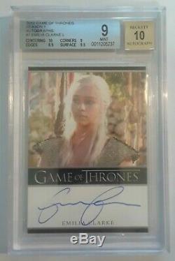 Game Of Thrones Season 1 Auto Daenerys Emilia Clarke Bgs Mint 9 Autograph 10