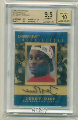 Jerry Rice 1996 Pinnacle Laserview Inscriptions Autograph Auto Bgs 9.5 /10 Gem