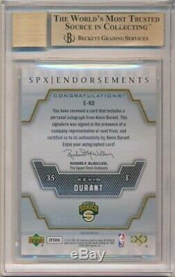 Kevin Durant 2007/08 Spx Rookie Endorsements Autograph Sp Auto Bgs 10 Pristine