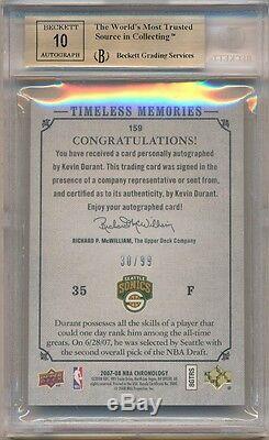 Kevin Durant 2007/08 Ud Chronology Rc Autograph Sp Auto #/99 Bgs 9.5 Gem Mint 10