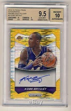 Kobe Bryant 2014-15 Panini Prizm Gold Pulsar Autograph Auto Card 08/10 BGS 9.5