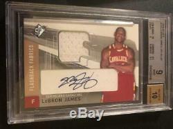 Lebron James 2004/05 SPX Flashback Fabrics Auto Autograph Jersey BGS 9 Auto 10