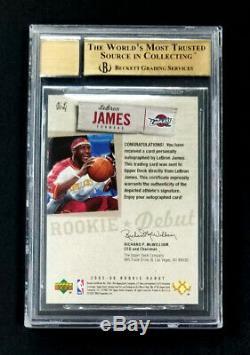 Lebron James 2005 Upper Deck Rookie Debut Ink Autograph Sp Auto Bgs 9.5 10 Rare