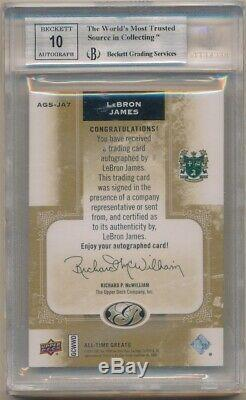 Lebron James 2011 Upper Deck All Time Greats Autograph Sp Auto #12/15 Bgs 9 10