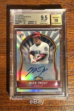 MIKE TROUT 2011 Topps Finest Refractor Auto 71/499 RC BGS 9.5/10 True Gem+ 84