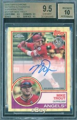 MIKE TROUT 2018 Topps Chrome SUPERFRACTOR AUTO 1/1 RED JSY BGS 9.5/10 GEM MINT