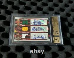 Magic Johnson auto Relic Larry Bird autograph Thomas Triple threads BGS 9.5 GEM