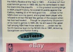 Michael Jordan 1986-87 Fleer Sticker Rookie Card Auto Uda Autograph # 8 Bgs 7.5