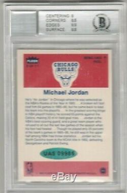 Michael Jordan 1986 Fleer Sticker Autograph Rookie RC BAS BGS 8.5 AUTO 9 UDA COA