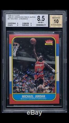 Michael Jordan Signed 1986-87 Fleer #57 RC 2006-07 Buyback 20/23 BGS 8.5 10 AUTO