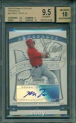 Mike Trout 2009 Bowman Sterling Rookie AUTOGRAPH BGS 9.5 with 10 Auto MVP