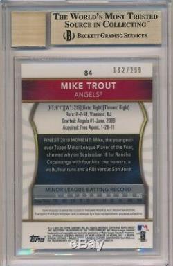 Mike Trout 2011 Finest Rc Rookie Xfractor Autograph Sp Auto #/299 Bgs 9.5 Gem 10