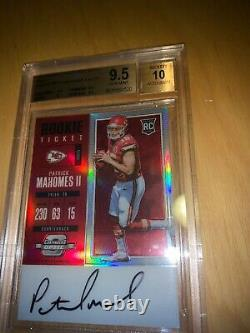 PATRICK MAHOMES 2017 Optic Contenders Red Rookie Ticket RC Auto 33/75 BGS 9.5
