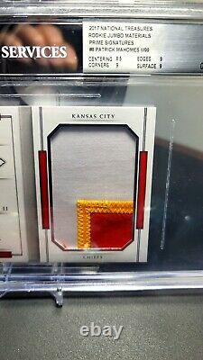 Patrick Mahomes II National Treasures Rc On-card Auto/patch Booklet /99 Bgs 9/9