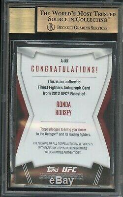 Ronda Rousey Auto Rc Bgs 9.5 10 Gem 2012 Topps Ufc Finest Rookie 1st Autograph