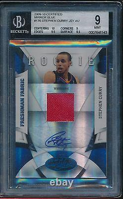 Stephen Curry 2009-10 Certified Mirror Blue Auto Rookie Rc #d/50 Sp Bgs 9 Mint