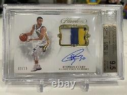 Stephen Curry Flawless Prime Materials Gold 3 Color Patch 1/10 Auto BGS 9.5